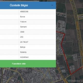 Bursa Yıldırım Samanlı da Yola Cepheli 21 000 M2 Satılık Arazi